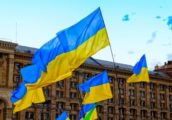 Ukraine flags in Kiev city